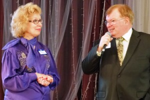 1 Tom and Kathy Vasko at the microphone