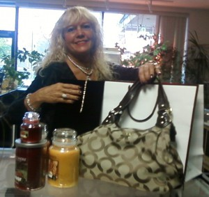 Gail with silent auction items